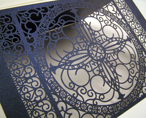 custom laser cut paper wedding invitation