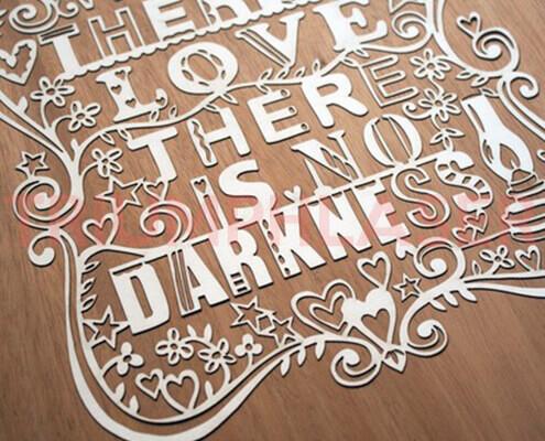 paper cut love sun laser cut